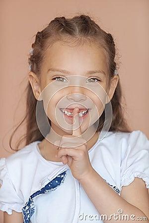 Girl-preschooler put finger to his