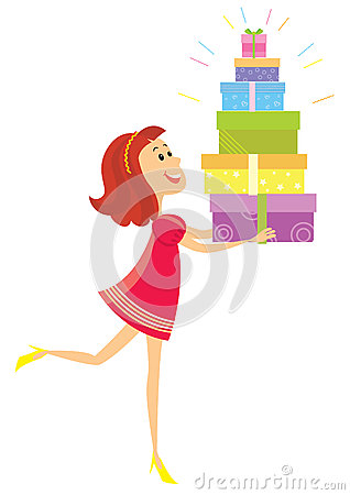 Girl and presents