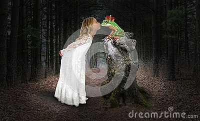 Girl, Princess, Kiss, Kissing Frog, Fantasy Stock Photo