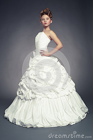 Girl princess in white ball gown