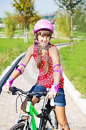 Girl in protective helmet