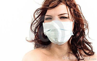 A girl in a protective mask