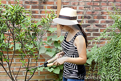 Girl With Pruning Shears Royalty Free Stock Images Image