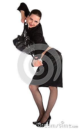 Girl pull bag hands.