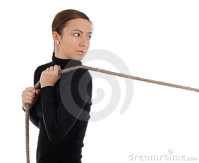 Girl pulling grey rope