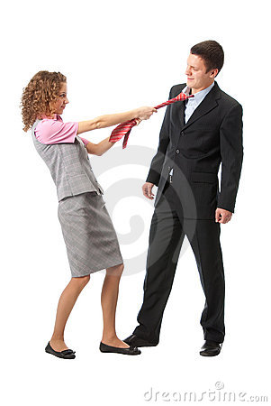 Girl pulls a man in a tie