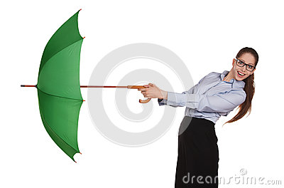 Girl pulls to itself open umbrella