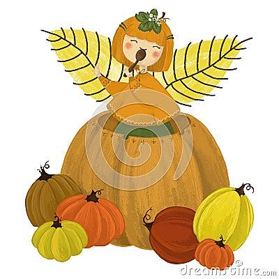 Girl in pumpkin Stock Photo