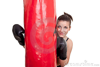 Girl with punching bag