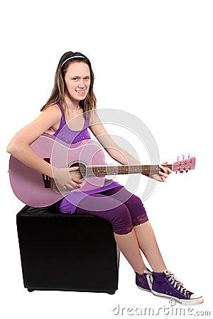Girl with purple guitar