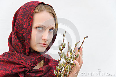 Girl with pussy willow. Editorial Stock Image