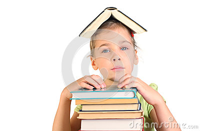 Girl put hands on pile books