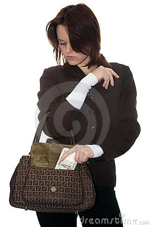 The girl puts money in a bag