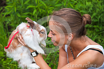 Girl with a rabbit.