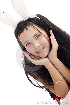 Girl with rabbits ears