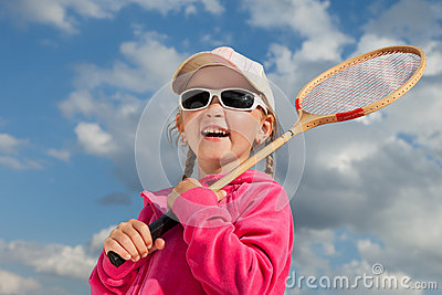 Girl with racket for badminton