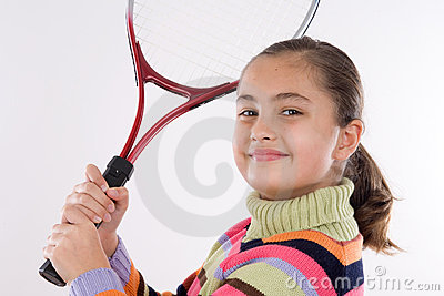 Girl with racket of tennis