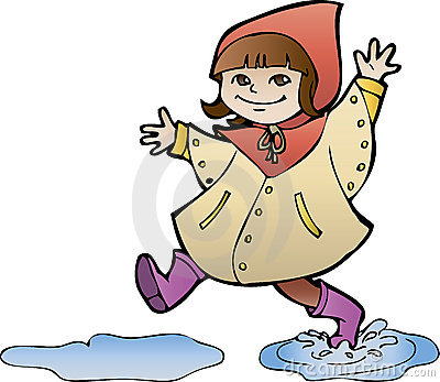 Girl in rain coat Vector Illustration
