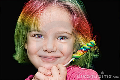 Girl with rainbow lollipop