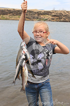 Girl with Rainbow Trout
