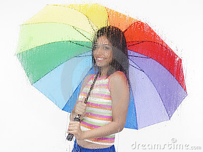 Girl with a rainbow umbrella
