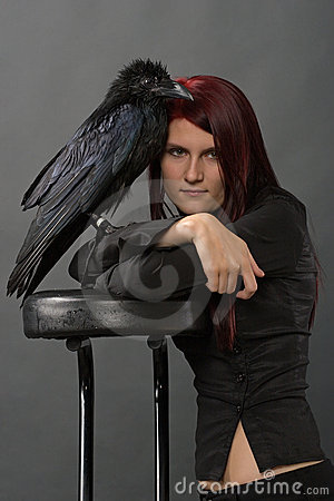 Girl with raven
