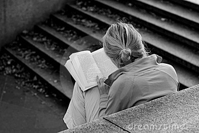 A girl reading a book