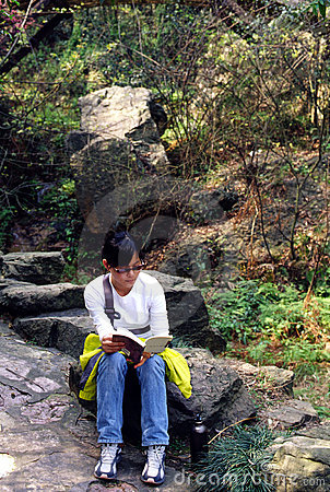 Girl on reading book