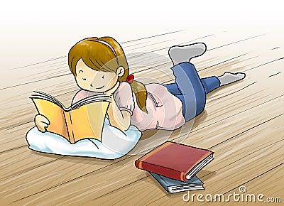 girl reading a book cartoon illustration
