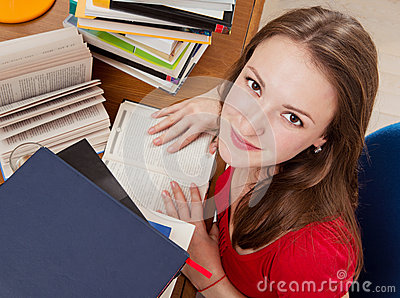 Girl is reading books