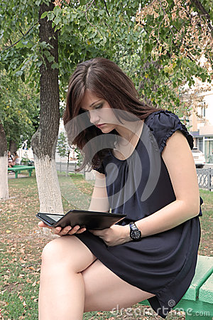 Girl reading e-book