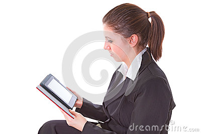 Girl reading on electronic book