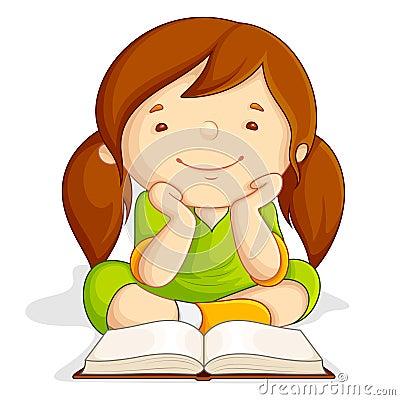 Girl reading Open Book