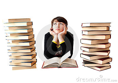 The girl reads books