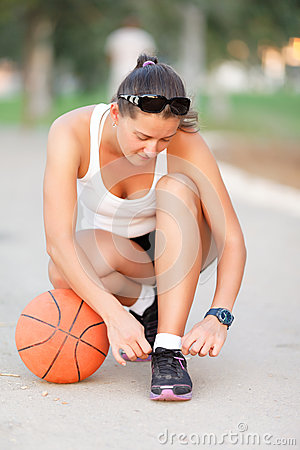 Girl ready to play basketball