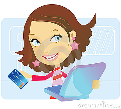 Free Girl Ready To Shop Online Royalty Free Stock Photos - 10079598