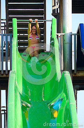 Girl ready to slide