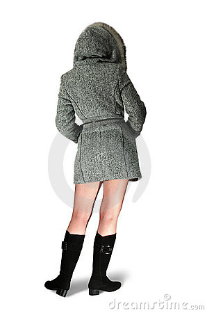 Girl rear in gray coat