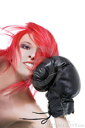 Girl receives a knockout blow in the face