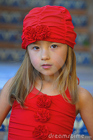 Girl With Red Bathing Suit and Cap