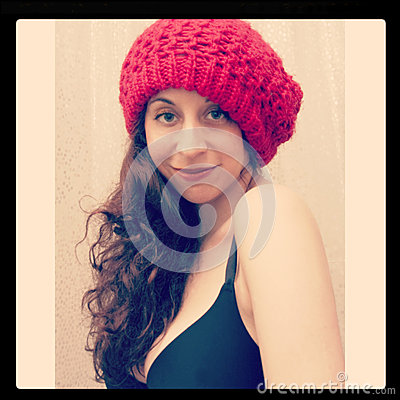 Girl In Red Beanie Hat