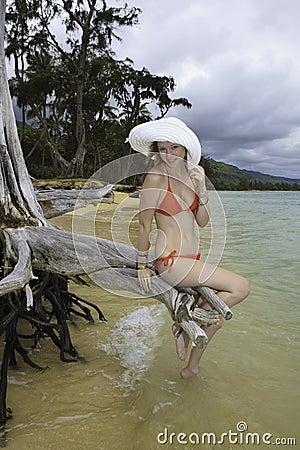 Girl in red bikini and hat
