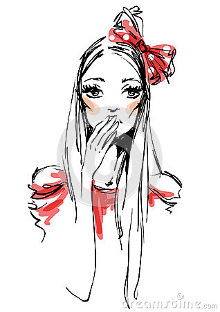 The girl with a red bow