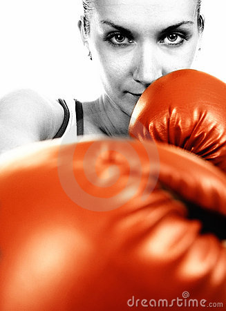 Girl in red boxing gloves