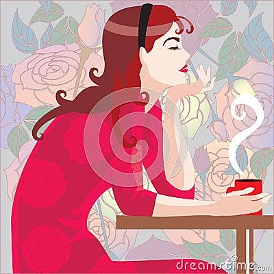 Girl in red in cafe
