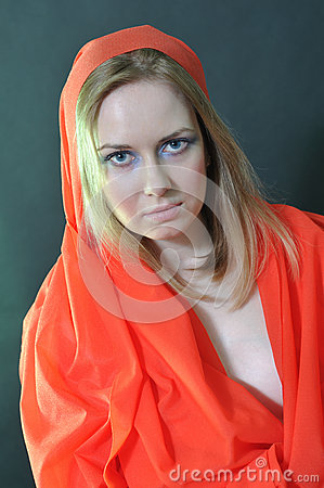 Girl in a red cloth