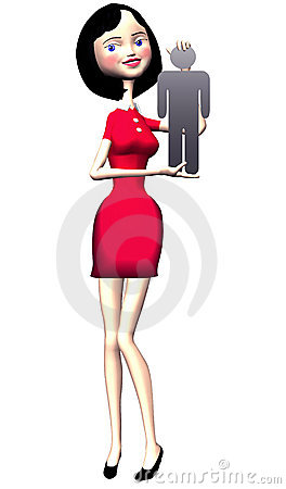 Girl in red dress holds symbol man in hand