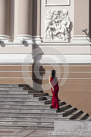Girl in red dress