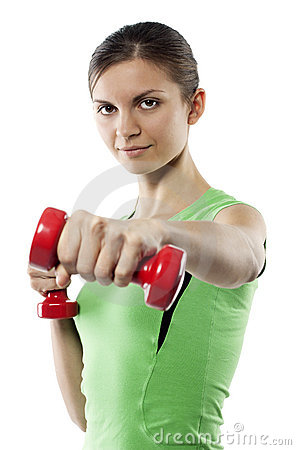 Girl with red dumbbells in hands