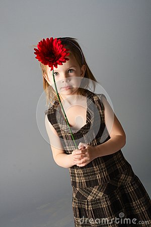 Girl with red flower